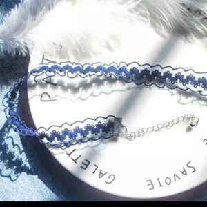 Blue lace floral Choker necklace